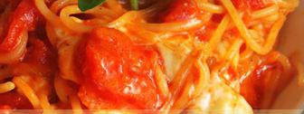 Spaghetti al sugo con mozzarella di bufala