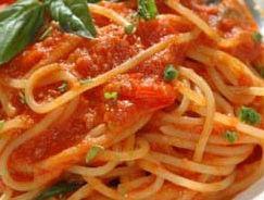 Spaghetti pomodoro e porri